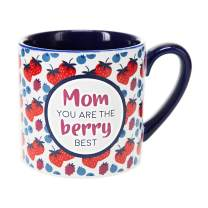 Pavilion Gift Company 73258 Mom Best-15oz Red & Blue Berry Stoneware Coffee Cup Mug, 15oz, Red
