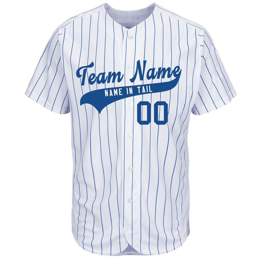 Custom Baseball Jersey Pinstripe Mesh Button Down Design Team & Your Name and Numbers for Men/Women/Youth