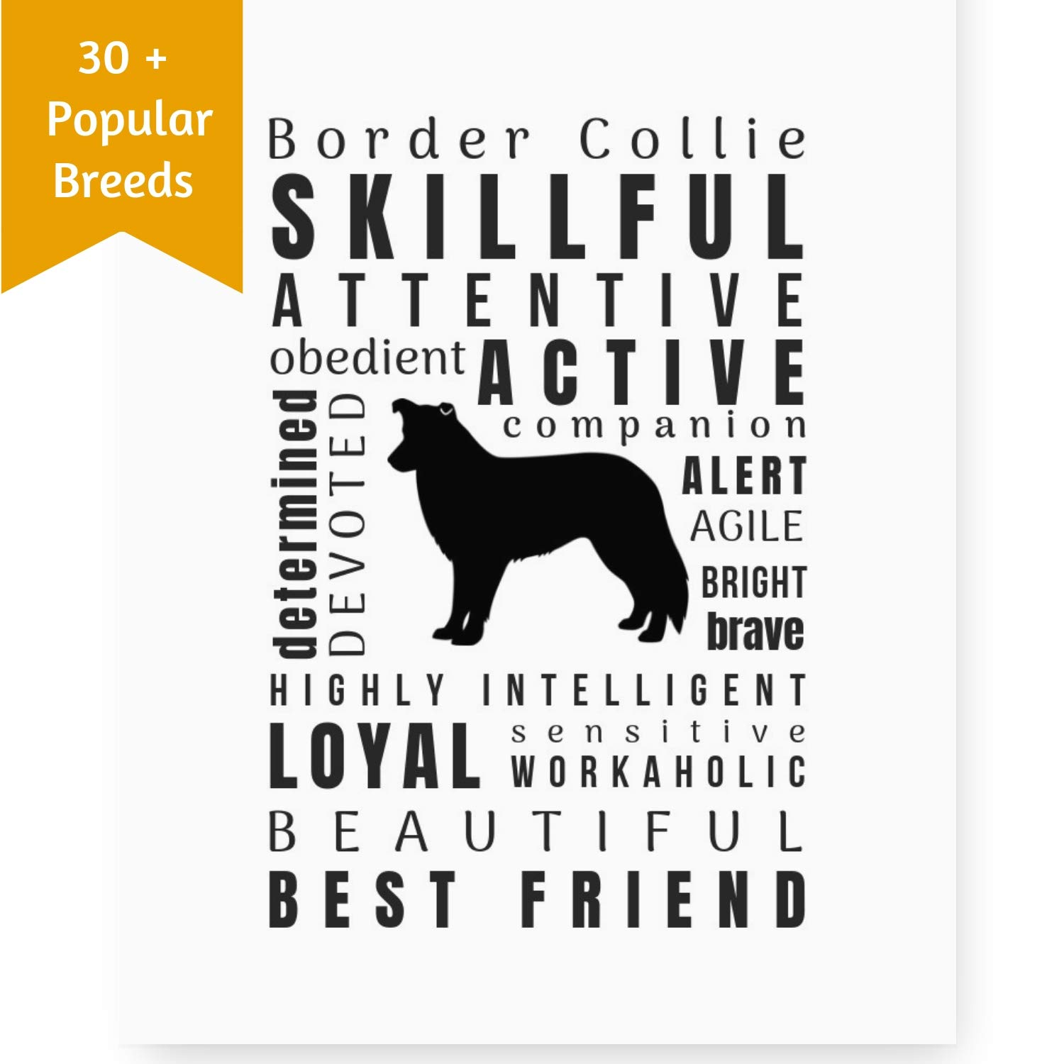 Dragonfly home & gift Dog Décor Border Collie Wall Art - Quote Print (8.5x11 Unframed) Pet Memorial Gifts | Dog Mom | New Puppy | Original Gifts for Dog Lovers