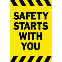 HALF PRICE BANNERS | Safety Starts with You Vinyl Banner-Indoor/Outdoor 3X2 Foot-Yellow | Includes Zip Ties | Easy Hang-Made in USA