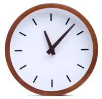 """Driini Modern Wood Analog Wall Clock (12"""") - Battery Operated with Silent Sweep Movement - Small Decorative Wooden Clocks for Bedrooms, Bathroom, Kitchen, Living Room, Office or Classroom"""