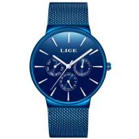 LIGE Mens Watches Male Fashion Casual Minimalist Analog Quartz Watch for Man Elegant Waterproof Stainless Steel Mesh Belt Date Black Gents Dress Wristwatch