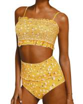 SUUKSESS Women Cute Shirred Bandeau Bikini Sets Off Shoulder 2 Pieces Swimsuit