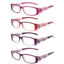LianSan 4 Pairs Ladies' Readers Color Frame Quality Reading Glasses for Women L3711
