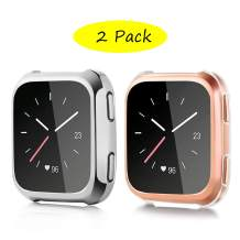 JuQBanke Screen Protector Compatible for Fitbit Versa, Shockproof Soft TPU Protective Case, Scratch Resistant Cover for Fitbit Versa Smart Watch(Silver+Clear, 2 Pack)