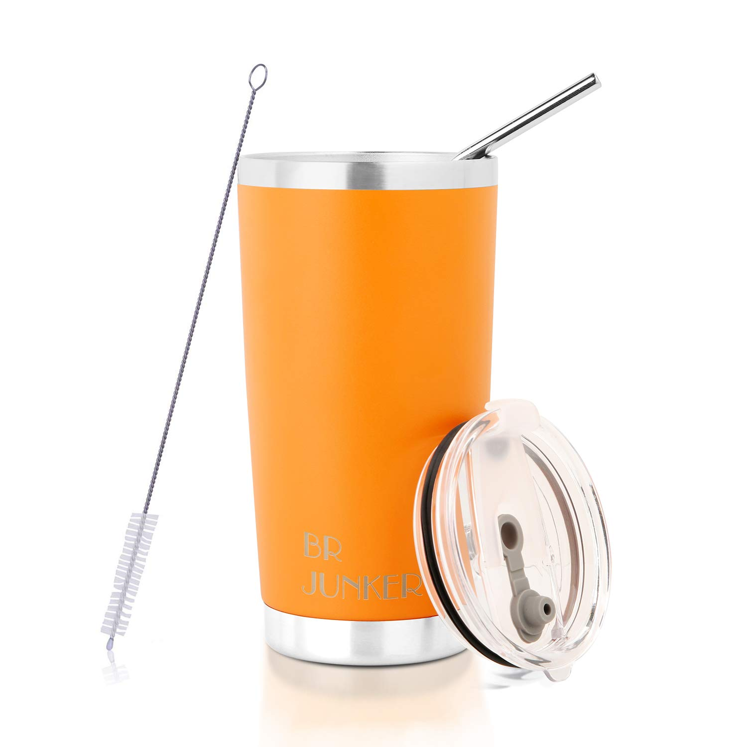 20 oz. Tumbler Double Wall Stainless Steel Vacuum Insulation Travel Mug with Crystal Clear Lid and Straw, Water Coffee Cup for Home,Office,School, Ice Drink, Hot Beverage,Orange