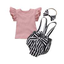 Newborn Baby Girl Romper Outfit Sleeveless One-Piece Bodysuit and Short Sleeve Jumpsuit Sunsuit Clothes Sets