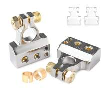 MNJ Motor Car Battery Terminal Connectors Kit - 2/4/8/10 AWG Positive Negative Battery Post Connectors Clamp and Shims for Car Auto Caravan Marine Boat Motorhome (Pair)