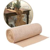 "Eternal Beauty 14""x 108"" Hessian Burlap Table Runner Farmhouse Natural Jute Fabric Roll for Rustic Wedding Decors"