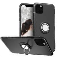 SQMCase Case for iPhone 11 Pro Max 6.5 inch 2019, Full BodyProtection Anti-Slip with 360 Degree Rotation Ring Kickstand [Work with Magnetic Car Mount] for iPhone 11 Pro Max,Black