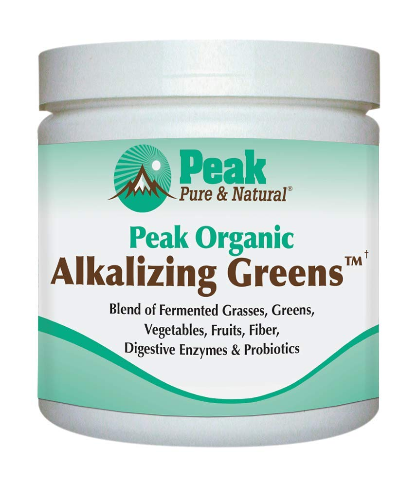 Peak Pure & Natural Peak Organic Alkalizing Greens Support pH Balance and Alkalinity | Superfood Green Drink Powder | Blend of Fermented Grass, Vegetable, Fruit | Digestive Enzyme & Probiotic Powder