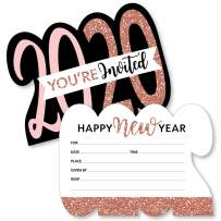 Big Dot of Happiness Rose Gold Happy New Year - Shaped Fill-In Invitations - 2020 New Year's Eve Party Invitation Cards with Envelopes - Set of 12