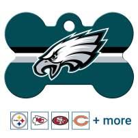 GoTags NFL Personalized Engraved Sports Team Dog Tags, Bone Shape Pet ID Tags
