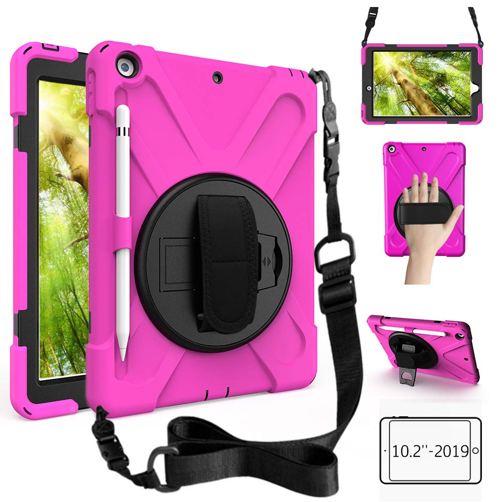 ZenRich New iPad 10.2 Case 2019, iPad 7th Generation Case with Pencil Holder, Rotatable Kickstand Hand Strap and Shoulder Strap, Shockproof Case for iPad 10.2 inch 2019 A2197/A2198/A2199/A2200-Rose