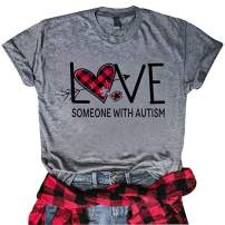 Women Valentine's Day Plaid Love Heart Shirt Love Someone with Autism Letter Print T-Shirt Short Sleeve Casual Tee Tops