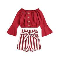 Toddler Baby Girls Clothes Ruffled Sleeve Off Shoulder T-Shirt Top + Stripe Shorts Summer Outfits Set