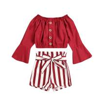 Toddler Baby Girl Long Sleeve Solid Color T-Shirt Tops Striped Short Pants Outfits Spring Summer Clothes Set