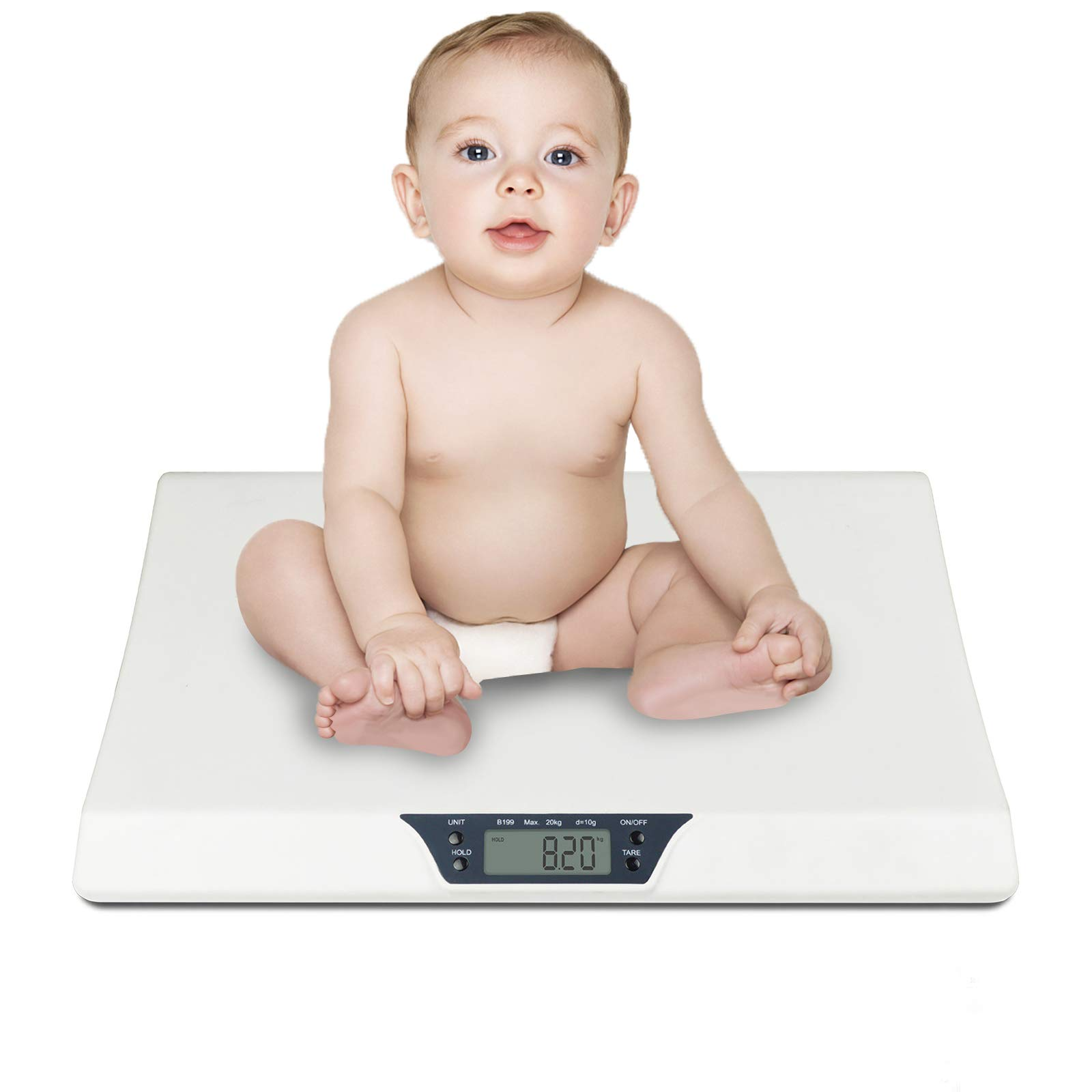 Baby Scale, YiiMO Electronic Digital Pet Scale in lbs and Ounces LCD Display for Infant,Toddler,Newborn,Puppy,Cat Dog Animals Weight with Hold Function Max 44LB (White)