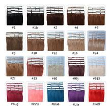 Fabwigs Tape In Human Hair Extensions - 16 18 20 22 24 Inch 20pcs 30g-70g Set - Silky Straight Skin Weft Human Remy Hair (22 Inch #1 Jet Black)
