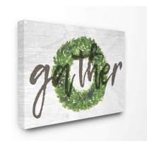Stupell Industries Gather Boxwood Wreath Typography Canvas Wall Art, 16 x 20, Design by Artist Daphne Polselli