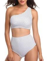 NAFLEAP Women One Shoulder Swimsuit Tankini High Waist Bikini Set 2 Pieces Push Up Bathing Suit