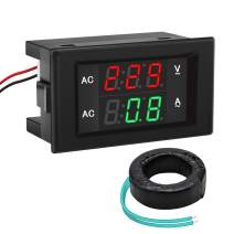 Volt Amp Meter, DROK AC 500V 200A Voltmeter Ammeter, 0.39 Inches LED 2in1 Multimeter Panel, Voltage Amperage Gauge with Current Transformer, 2-Wires Digital Tester