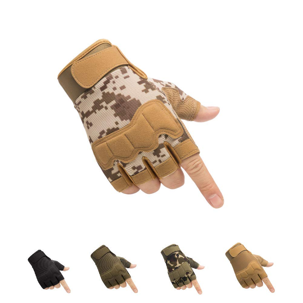 HYCOPROT Fingerless Tactical Gloves, Knuckle Protective Breathable Lightweight Outdoor Military Gloves for Shooting, Hunting, Motorcycling, Climbing