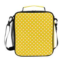 ZZXXB Yellow And White Polka Dot Insulated Lunch Bag Box Reusable Thermal Cooler Bag Tote Outdoor Travel Picnic Bag With Shoulder Strap for Children Students Adults