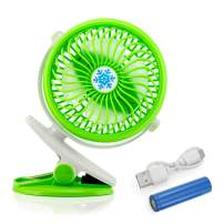 Oct17 Portable Stroller Table Fan Rechargeable Battery USB Mini Battery Operated Clip on Mini Desk Fan for Home Office Baby Stroller Car Laptop Study Gym Camping Tent - Green