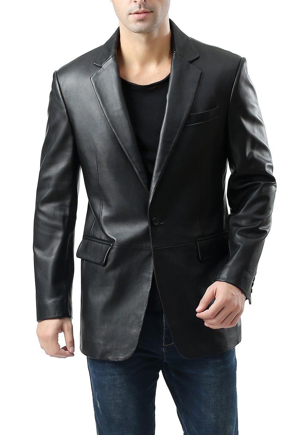 BGSD Men's Nicholas 1-Button Lambskin Leather Blazer (Regular Big & Tall and Short)