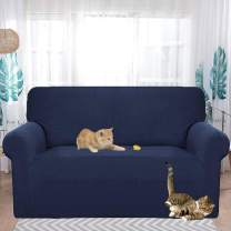HEBE Stretch Slipcover for 2 Cushion Loveseat Couch Water Repellent 1-Piece Couch Cover Sofa Slipcovers Love Seat Throw Covers for Living Room Dog Cat Pet Kid,Blue