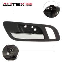 AUTEX Interior Front Left Driver Side Door Handle Chrome Lever and Black Housing Compatible with Chevrolet Avalanche Suburban Silverado,GMC Sierra Yukon 2007 2008 2009 2010 2011 2012 2013 2014 81188