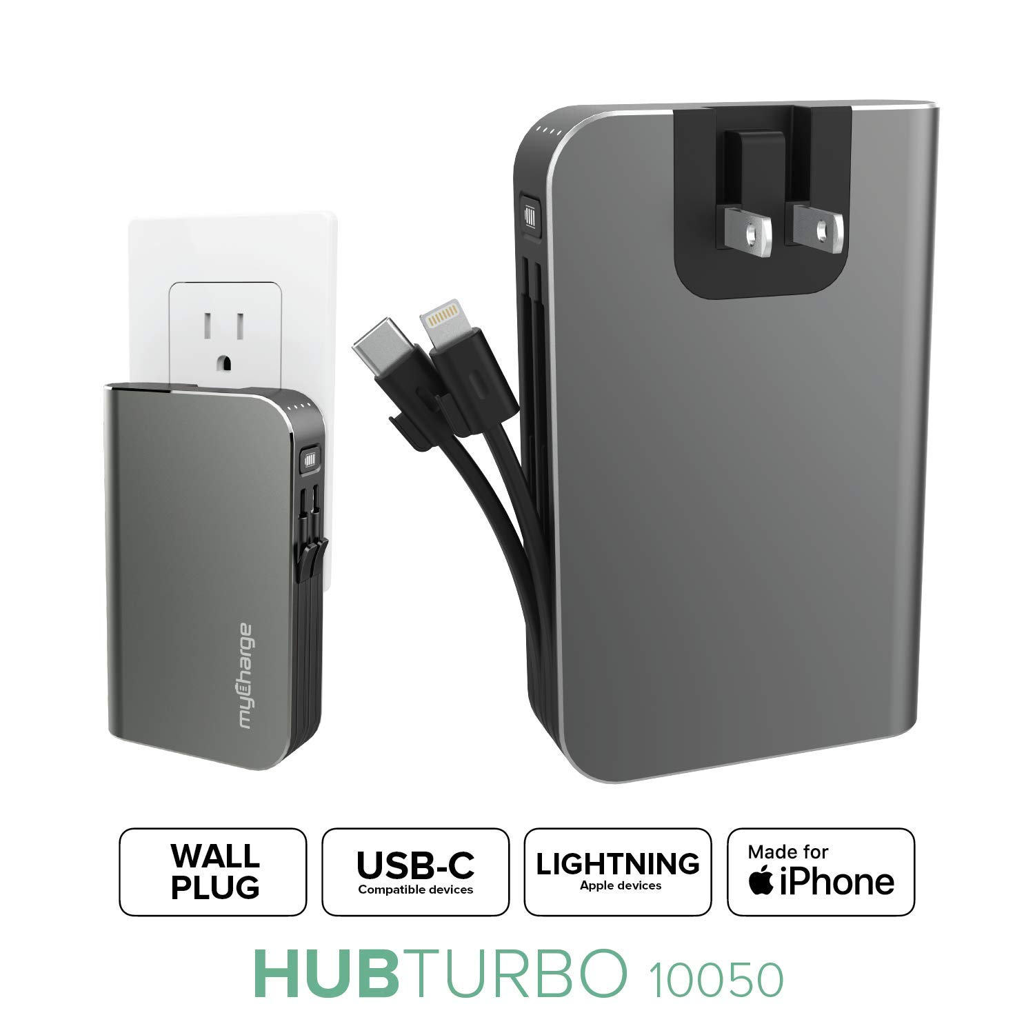 myCharge Portable Charger with Built in Cables [iPhone Lightning + USB C] 10050 mAh 18W Fast Charge Hub Turbo Power Bank External Battery Pack | AC Wall Charger Plug, Dual Cords, USB-A Output
