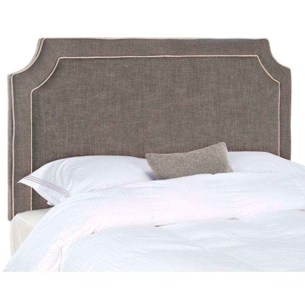 Safavieh Dane Charcoal Grey/ Light Grey Piping Linen Upholstered Headboard (Full)