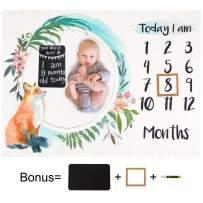 ICOSY Baby Monthly Milestone Blanket with Chalkboard & Pen, Organic Thick Fleece Photography Background Blanket Newborn Baby Photo Prop Shower Gift