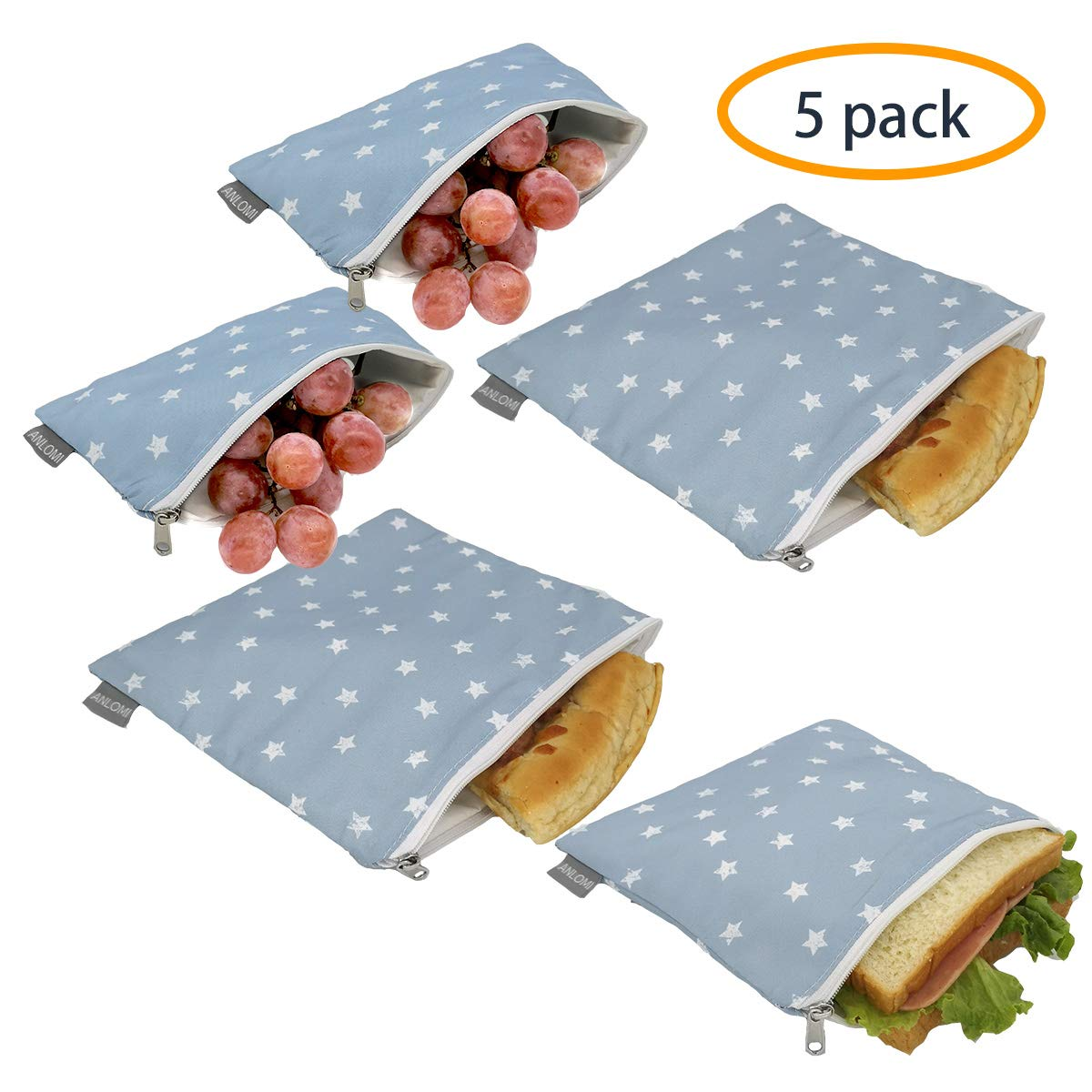 Reusable Sandwich Bags Snack Bags - Set of 5 Pack, Dual Layer Lunch Bags with Zipper, Dishwasher Safe, Eco Friendly Food Wraps, BPA-Free. (Star)