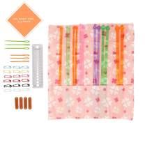 Single Pointed Knitting Needles Set (7 Assorted Sizes) with Organizer Case + EBOOK+Gauze - Great Beginner Starter Kit- Best Gift Set (14 Inches)