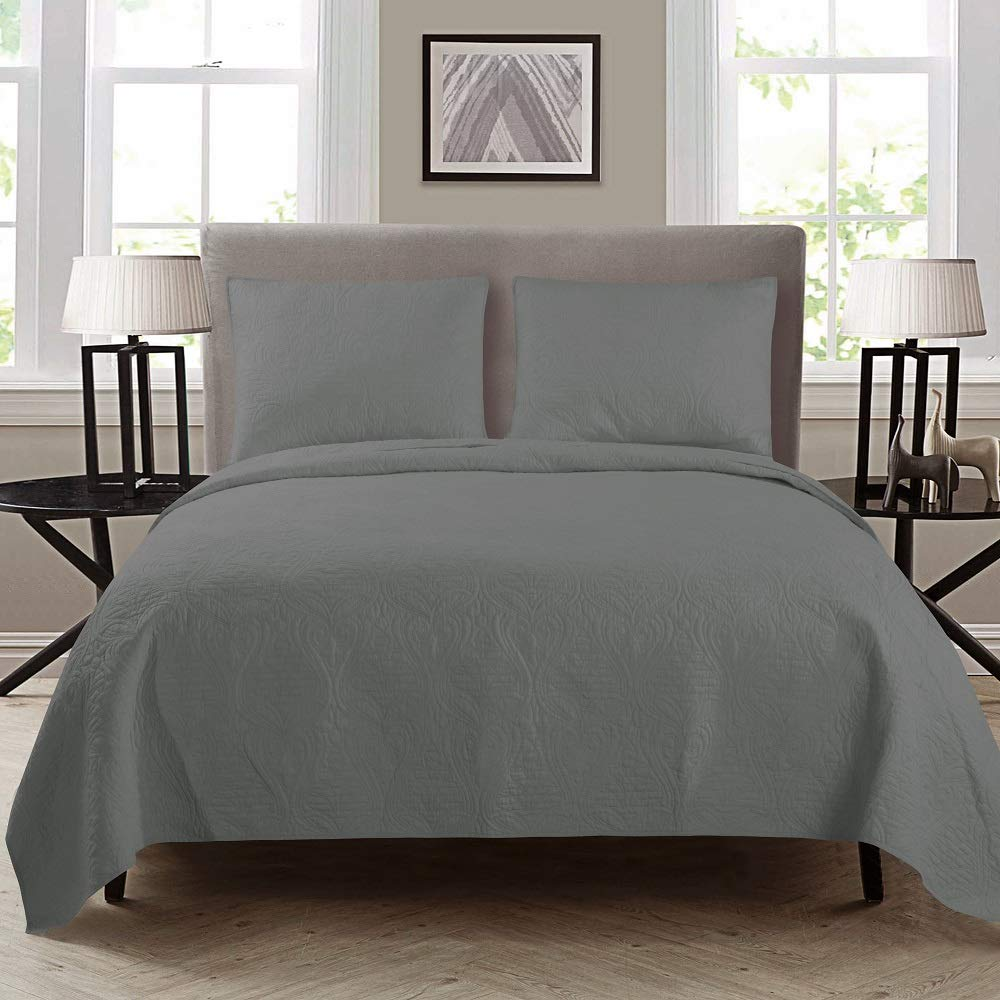 "ARTO MOSTO 100% Cotton Quilted and Prewashed 3PC Oversized Luxury Quilt Set/Coverlet Set/Bedspread Set.Full/Queen:92""x96""/20x26""(2), King: 110""x96""/20x36""(2) (Pattern #2-Grey, Full/Queen)"