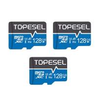 TOPESEL 128GB Micro SD Card 3 Pack Memory Cards A1 V30 U3 Class 10 Micro SDXC UHS-I TF Card for Cemera/Drone/Dash Cam(3 Pack U3 128GB)