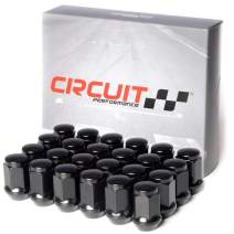 Circuit Performance 12x1.25 Black Closed End Bulge Acorn Lug Nuts Cone Seat Forged Steel (24 Pieces)