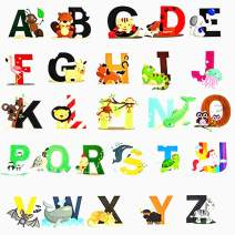 Animal Alphabet Decals ABC Wall Decals Stickers Peel and Stick Vinyl A-Z Alphabet Wall Decor for Kids Nursery Baby Room(Style 1)