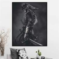 DOLUDO Canvas Wall Art Painting Black and White Japanese Samurai Posters and Prints for Living Room Bedroom Home Decoration Gifts Artwork No Frame 24x32inch
