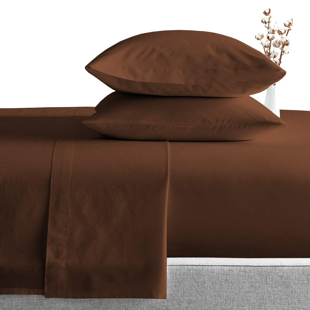 RV King Sheets Luxury Soft 100% Egyptian Cotton - Sheet Set for RV King 72x80 Mattress Chocolate Solid 600 Thread Count Deep Pocket