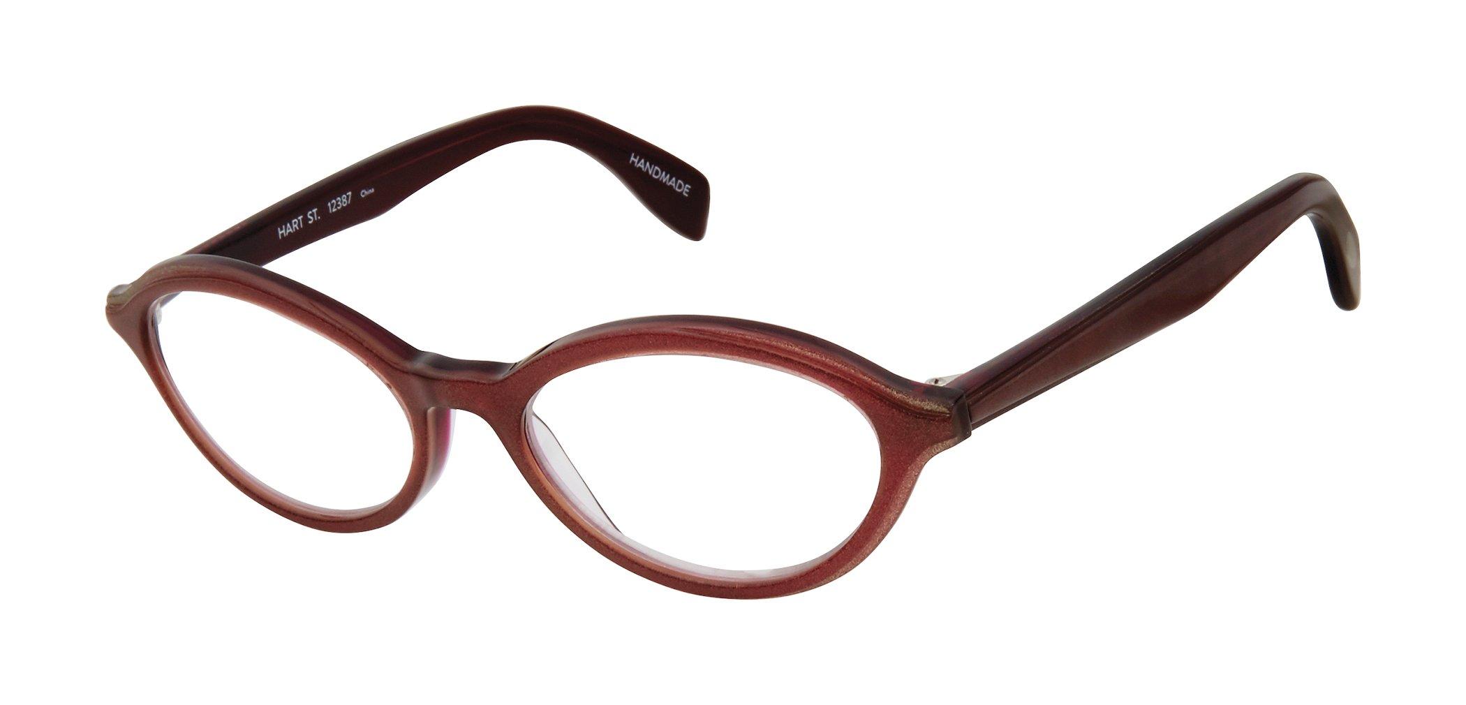 Hart Street - Oval Trendy Fashion Reading Glasses for Men and Women - Sangria Shimmer