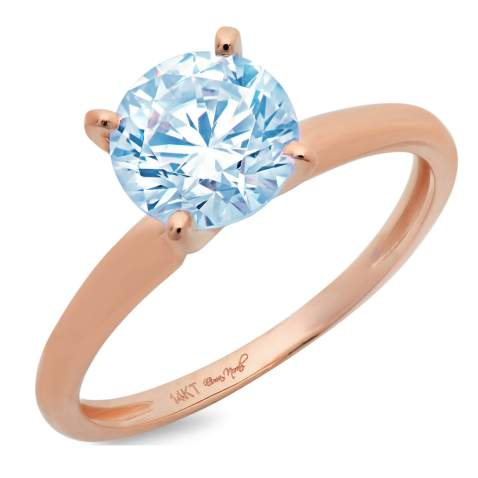 1.45ct Brilliant Round Cut Solitaire Aquamarine Blue Simulated Diamond CZ Ideal VVS1 D 4-Prong Classic Designer Statement Ring in Solid Real 14k Rose Gold for Women