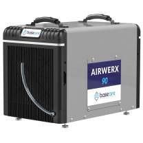 BaseAire Crawl Spaces Dehumidifier AirWerx90, Basement Dehumidifier 90pints/Day at AHAM, Cover 2,600 Sq. Ft,Portable, HGV Defrosting, Remote Control,5 Years Warranty