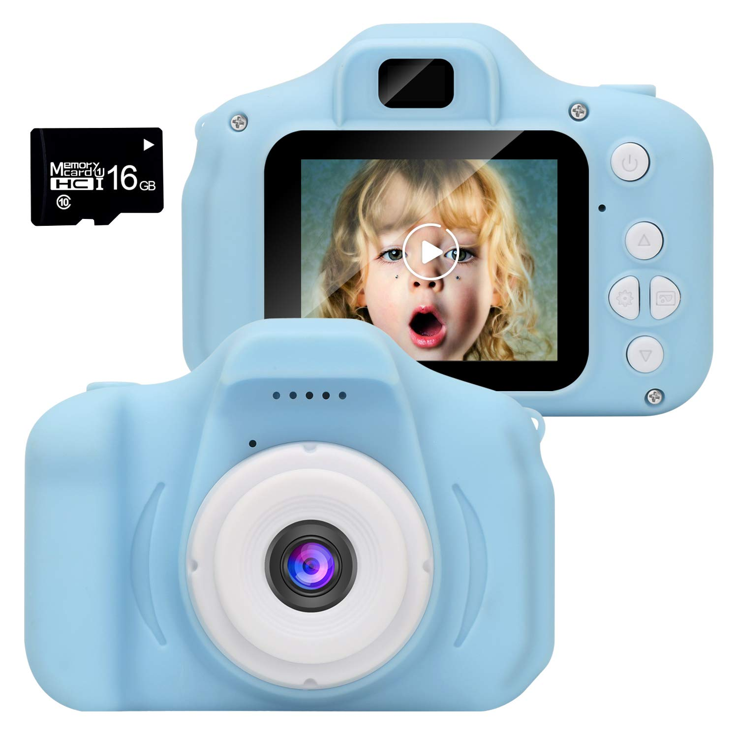 WUBUMIM Kids Digital Video Camera Best Birthday Gifts for Girls Age 3-7 , Rechargeable Kids Camera Shockproof 8MP HD Video Cameras Great Gift Mini Child Camcorder (Pink) (Blue)