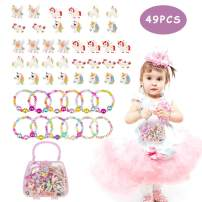 BAOQISHAN 49PCS Beaded Bracelets Ring Clip On Earrings for Kids Gift Handbag Girl Unicorn Jewelry Toy Girl's Jewelry Dress Up Play Set Party Supplies Party Favors