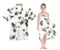 Matching Hawaiian Luau Outfit Men Shirt Girl Dress in Palm Green