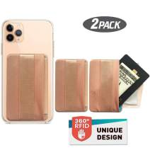 [2PCS] WUOJI RFID Blocking Phone Grip Card Holder with Flip,Self Adhesive Finger Strap Phone Pocket,Phone Card Wallet Card Sleeves Phone Wallet Sticker for All Smartphones (Lid-Gold)